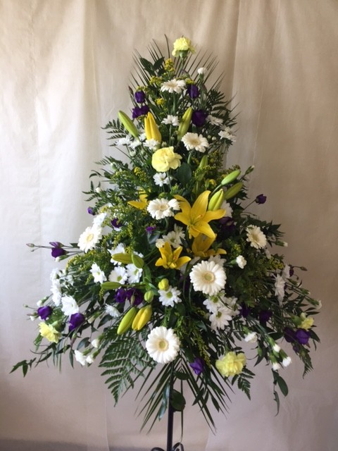 Yellow, White and Purple Pedestal