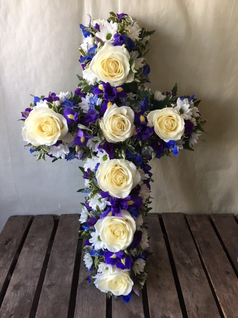 Purple and White Loose Cross