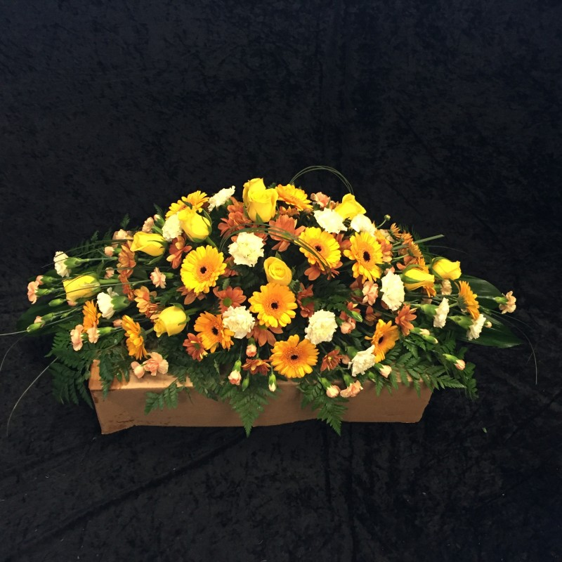 Yellow and Gold Coffin Spray