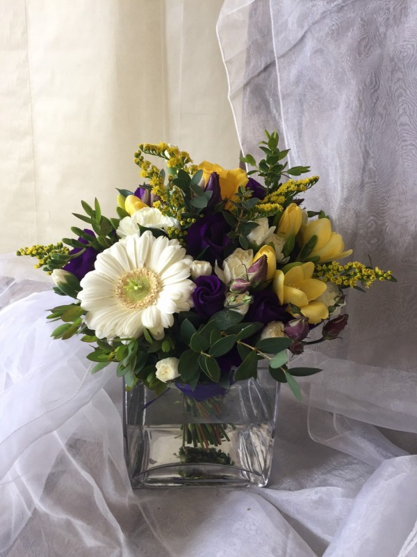 Yellow White and Purple Vase