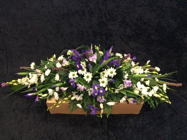 Purple Lilac and White Coffin Spray