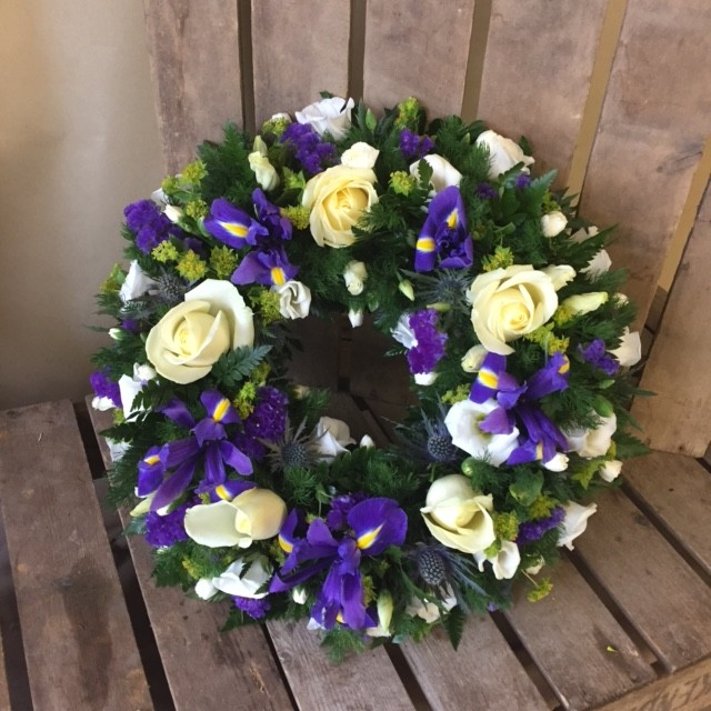 Purple and White Loose Wreath