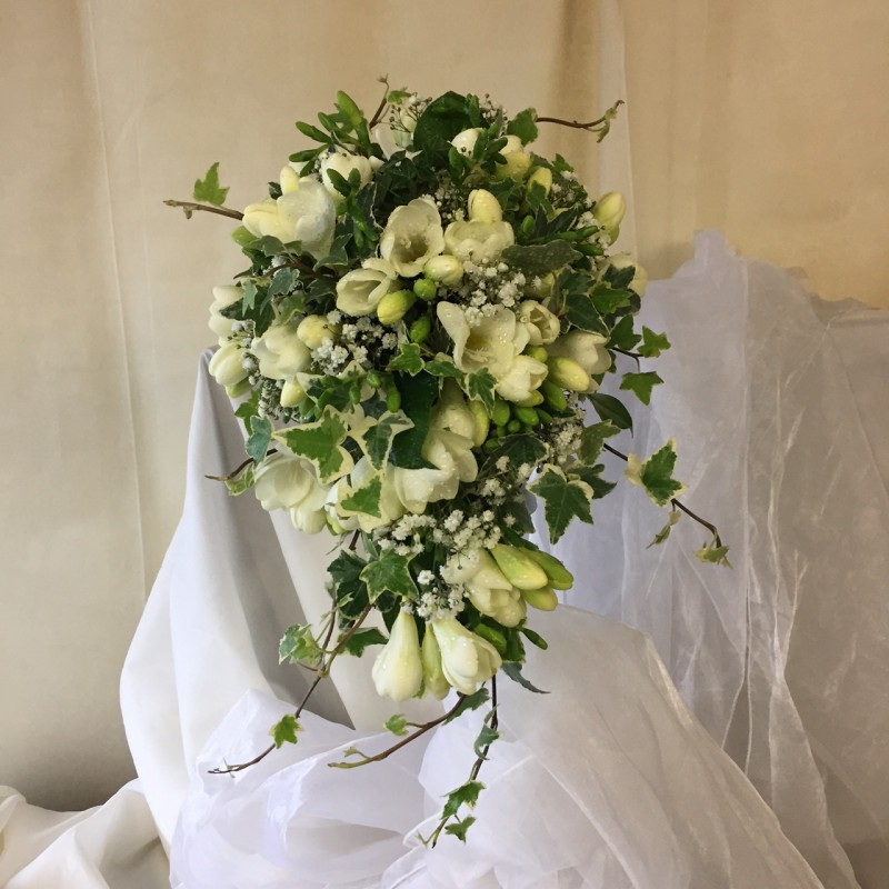White Freesia Shower Bouquet