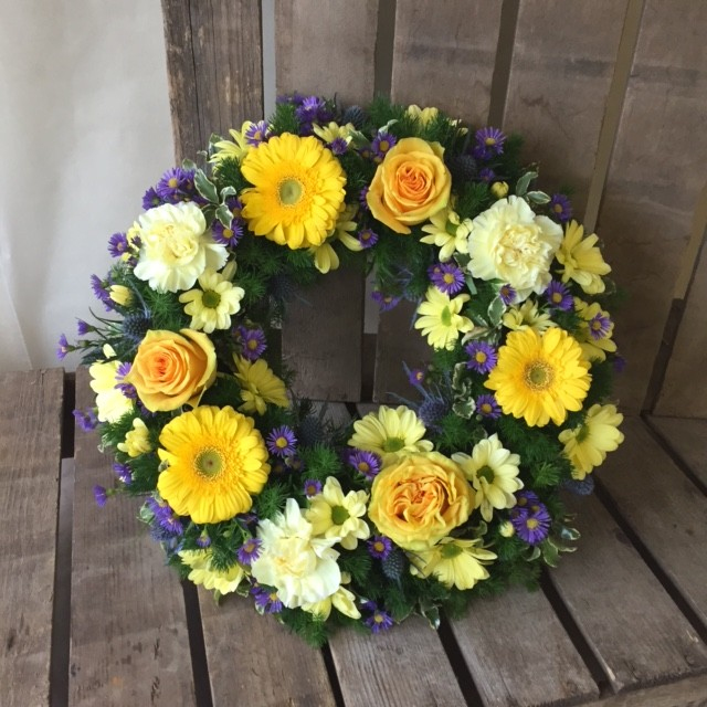 Yellow and Blue Loose Wreath